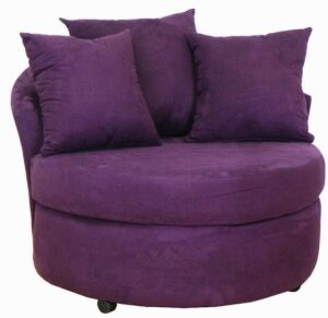 #650 – Barrel Accent Chair in Bulldozer Eggplant