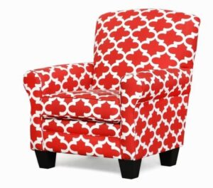 "#500 – ""Quinn"" Accent Chair in Fynn Lipstick/White"