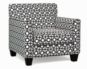 "#900 – ""Sara"" Accent Chair in Gigi Black/White"
