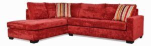 "#750 – The ""Hannah"" Sectional in Hearth Scarlet/Intermix Khaki/Ripley Harvest"