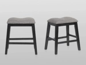 "#2785C24CHAR – The ""Maskey"" Counter Stool in Charcoal – Set of 2"