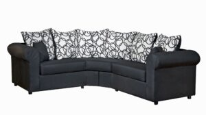 """#295 – The """"Lucy"""" Sectional in Sum Plain Black/Vision Lines Black"""