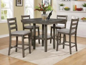 "#2630GY – The ""Tahoe"" Counter-Height Dining Set in Grey"