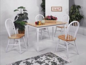#2302 – The Farmhouse White & Natural Dining Set