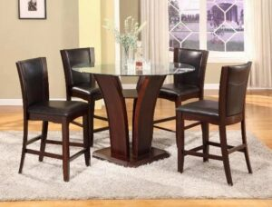 "#1710ESP – The ""Camelia"" Counter-Height Dining Set in Espresso"