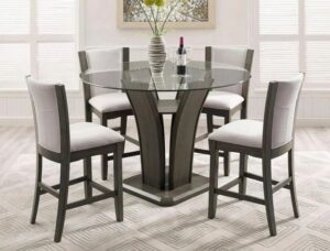 "#1710GY – The ""Camelia"" Counter-Height Dining Set in Grey"