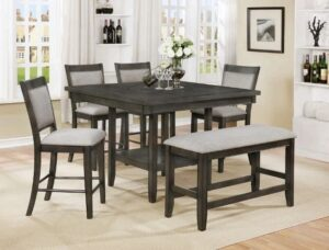 "#2727GY – The ""Fulton"" Counter-Height Dining Set with Bench in Grey"