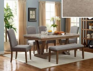 "#1211 – The ""Vesper"" Marble Top Dining Set with Bench"