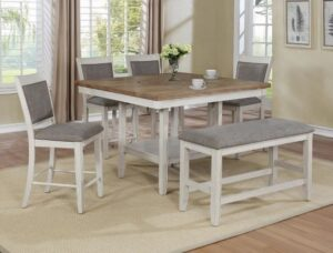 "#2727WH – The ""Fulton"" Counter-Height Dining Set with Bench in White"
