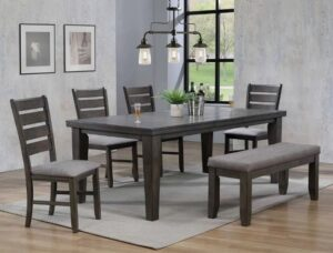 "#2152GY – The ""Bardstown"" Dining Set with Bench in Grey"