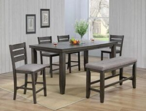 "#2752GY – The ""Bardstown"" Counter-Height Dining Set with Bench in Grey"
