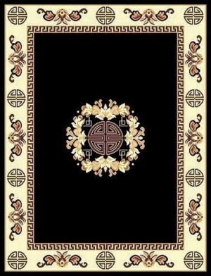 """Taj Mahal 119"" Rug in Black, Available in Two Sizes"