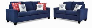 """#2800 – The """"Audrey"""" Sofa Set in Dyed Solid Blue/Sailor Carmine/Coral White Blue"""