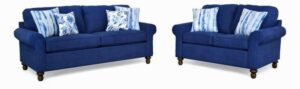 "#2100 – The ""Elizabeth"" Sofa Set in Zenith 603/Kanoko Indigo/Muira Indigo"