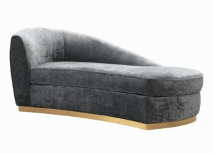 "The ""Adele"" Chaise in Grey Textured Velvet"