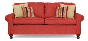"#2100 – The ""Elizabeth"" Sofa Set in Bennett Red/Bennett Oatmeal/Warwick Harvest"
