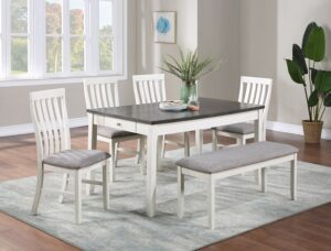 "#2217CG – The ""Nina"" Dining Set with Bench in Chalk"