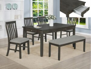 "#2217GY – The ""Nina"" Dining Set with Bench in Grey"