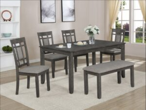 "#2325GY – The ""Paige"" Dining Set with Bench in Grey"