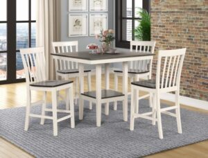 "#2682 – The ""Brody"" Counter-Height Dining Set in White/Grey"