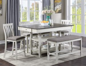 "#2715CG – The ""Nina"" Counter-Height Dining Set with Bench in Chalk"