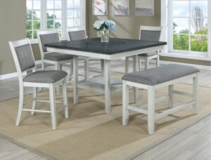 "#2727CG – The ""Fulton"" Counter-Height Dining Set with Bench in Chalk"