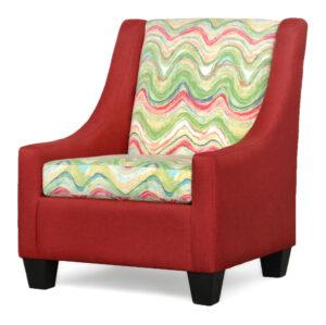 "#390 – ""Luna"" Accent Chair in Oscar Red/Faremore Carnival"