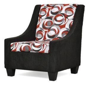 "#390 – ""Luna"" Accent Chair in Content Caviar/Spellbound Bold"