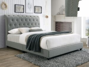 "#5104GY – The ""Janine"" Bed in Grey Velvet"