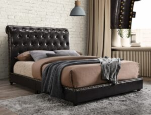 "#5104PU – The ""Janine"" Bed in Brown PU"