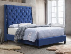 "#5265RB – The ""Chantilly"" Bed in Royal Blue Velvet"