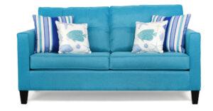 "#5950 – The ""Allison"" Sofa Set in Theo Teal/Back Up Blue Sky/Beachcomber Blue Sky"