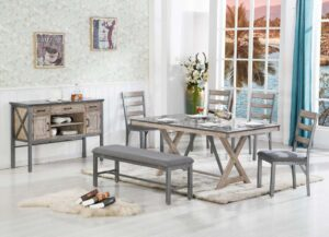 #DC1768 Dining Set with Bench