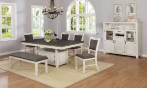 "#DIN1852D – The ""Jonah"" Dining Set with Bench in Antique White"