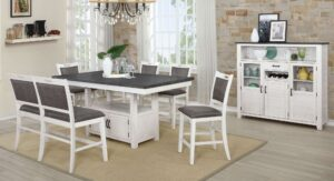 "#DIN1852P – The ""Jonah"" Counter-Height Dining Set with Bench in Antique White"