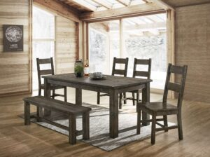 "#DIN8108D – The ""Harrison"" Dining Set with Bench in Grey"