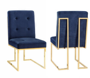"The ""Akiko"" Chair in Navy Velvet – Set of 2"