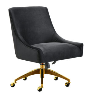 "The ""Beatrix"" Office Chair in Black Velvet"