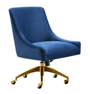 "The ""Beatrix"" Office Chair in Navy Velvet"
