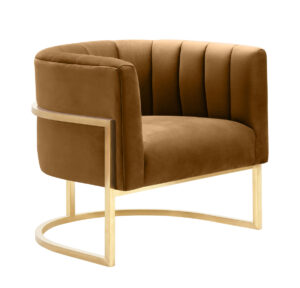 "The ""Magnolia"" Chair in Cognac Velvet with Gold"