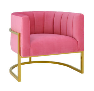 "The ""Magnolia"" Chair in Rose Pink Velvet with Gold"