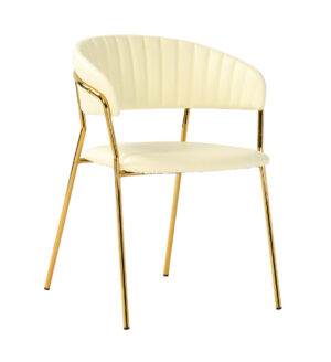 "The ""Padma"" Chair in Cream Vegan Leather – Set of 2"