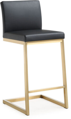 "The ""Parma"" Counter Stool in Black/Gold – Set of 2"