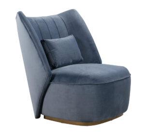 """The """"Reiko"""" Lounge Chair in Cascadia Blue Velvet"""