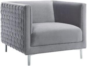 """The """"Sal"""" Woven Chair in Grey Velvet"""
