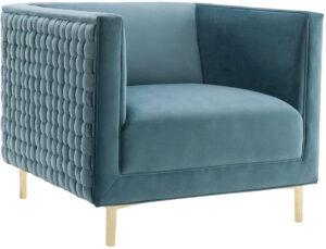 """The """"Sal"""" Woven Chair in Sea Blue Velvet"""