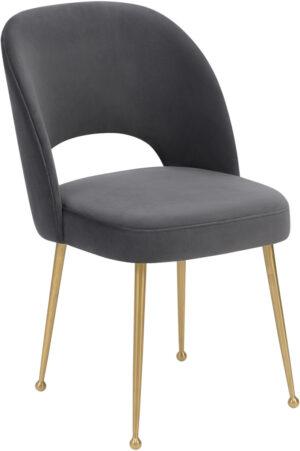 """The """"Swell"""" Chair in Dark Grey Velvet"""