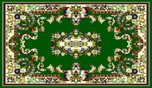 """""""Taj Mahal 111"""" Rug in Green, 6′ x 8′"""